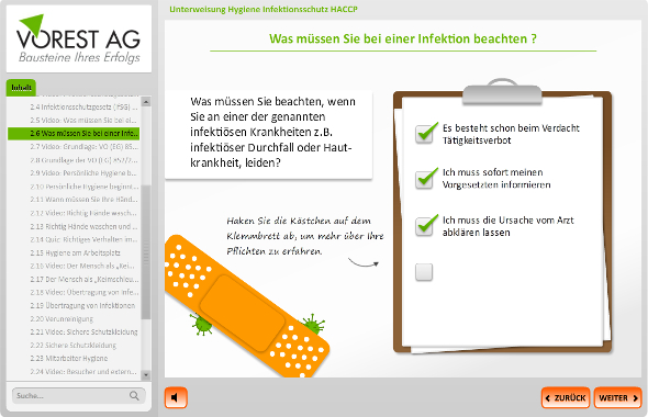 E-Learning Unterweisung Hygiene HACCP Interaktion